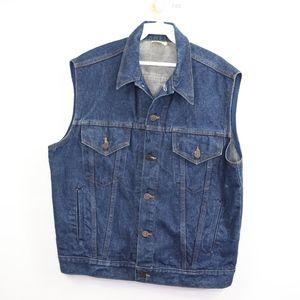Vintage 60s Mens 44 Button Denim Jean Vest Blue